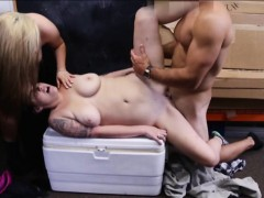 Lesbian couple 3some sex with pawn man to earn money