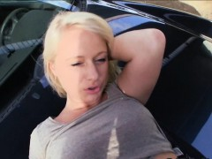 Pretty hot blonde Czech girl screwed in public for money