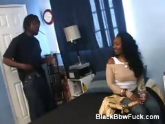 Chubby Ebony Flashes Her Big Tits