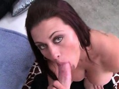 Big ass redhead gets on knees for a blowjob