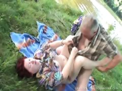 Stacked Redhead MILF Gives A Bareback Blow Job By The River