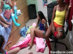 Faye shows her girlfriends how to use a dildo
