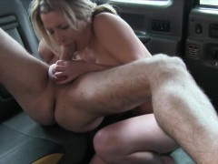 Big boobs amateur passenger gets banged in the backseat