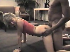 Beautiful blonde wife has sex with a black man in front of