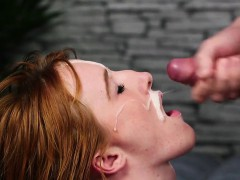 Kinky honey gets sperm load on her face sucking all the seme