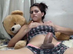 Hot Shemale Strokes her Fat Dick - close up.