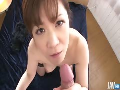 Big titty Ichika Asagiri on her knees sucking a hard dick