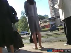Up the long skirt of amateur female