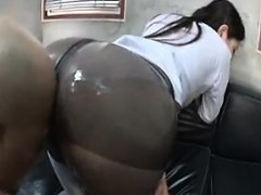 Attractive Japanese girl putting her magnificent big booty