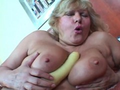 Busty Blonde Mature Toy Fucking Hairy Snatch