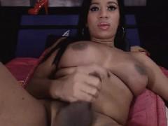 Ebony Tranny Tugs on her Hard Cock
