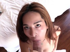 Big fake tits ladyboy gets anal stetched by a big dick