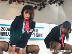Asian models at showroom jumping dildos in their cunts