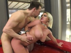 Two Big Boobs Blonde Ladies Passionate Anal Threesome Action