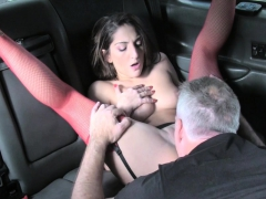 Red Fishnets Babe Seduced Taxi Drive