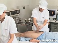 Sweet asian nurses giving handjob in group for cum sample