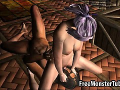 Hot 3D elf princess getting licked and fucked hard