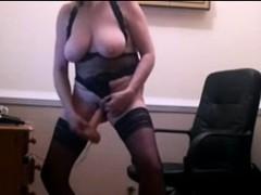 Mature blonde in stockings masturbating on webcam