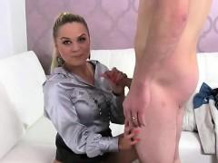 Blonde female agent suck dick of amateurdude