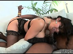 Slutty milf in gloves fucks a big black dick