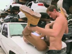 Big white cock stud fucks a shaved black ass
