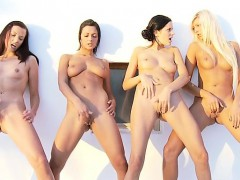 Lesbian foursome action