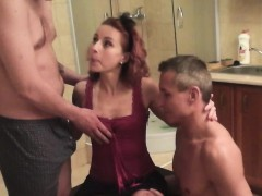 Nasty MILF gets threesome hardcore fuck in the kitchen
