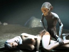 Sexy 3D cartoon babe fucked in the woods by Gollum