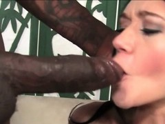 Hot brunette rides and blows fat black penis