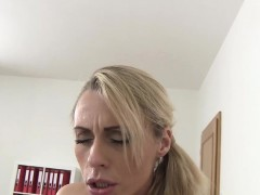 Horny blonde mature gets her wet pussy fucked on the couch