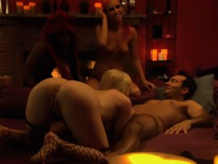 Group of couples swap partners and orgy in the mansion