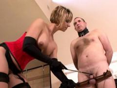 Milf enjoys torturing her male slave