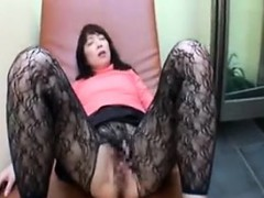 Classy Japanese lady with sexy long legs gets her juicy sli