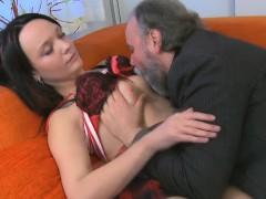 Adorable young seductress sucks and rides old ramrod