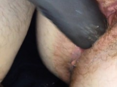 Hairy meat pussy fucked hard and drips from dildo's POV
