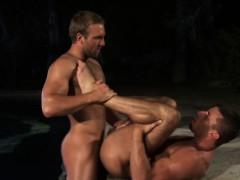 Muscled hunks cum outside