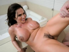 Busty brunette fucked hard in the shower by a lucky guy