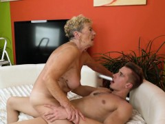 Hairypussy granny banged on the sofa