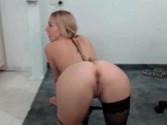 Blonde pigtail german licking ass of guy