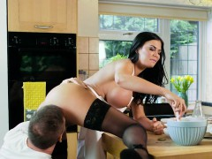 Huge tits Milf Chef bangs in kitchen