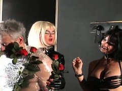 Wicked domina smothers slave and tortures with electricity