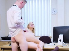 Busty blonde boss lady gets her hungry pussy drilled