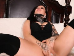 Busty punk Victoria Villain masturbates her twat and pounded