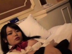 Asian babe gets her shaved cum-hole stuffed with dick