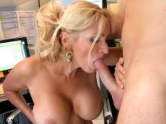 Sexy wife with big tits gives a tit fuck and gets gangbanged