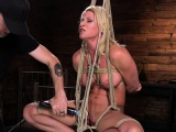 Busty submissive MILF flogged and pussytoyed