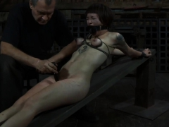 In nature's garb and gagged babe receives cunt satisfying
