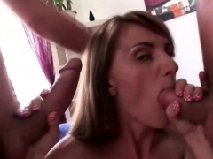 Russian Chick Handles 2 Cocks Barely