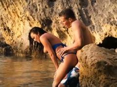 Sexy babe in blue bikini gets twat screwed by the beach