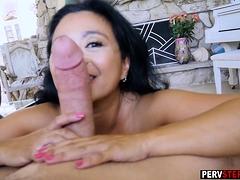 Asian MILF stepmom fucks and sucks a stepsons huge cock